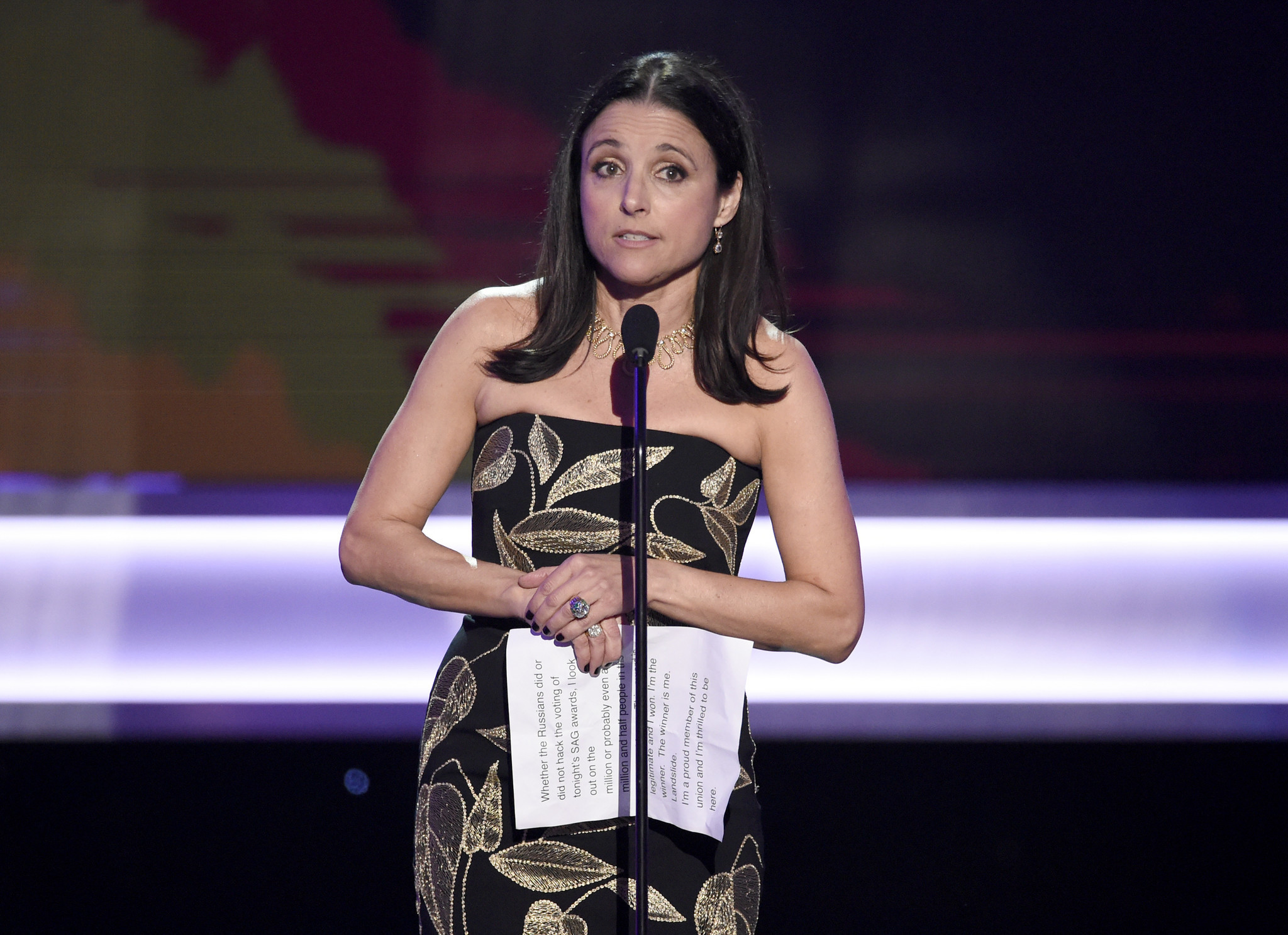 """Veep"" star Julia Louis-Dreyfus accepts the award for performance by a female actor in a comedy series. (Chris Pizzello / Invision/AP)"