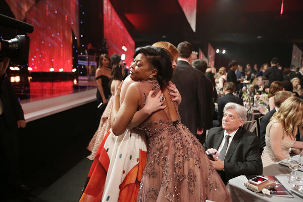 Taraji P. Henson receives a hug during the show. (Robert Gauthier / Los Angeles Times)