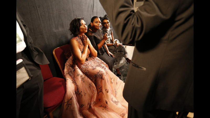 Taraji P. Henson, left, Octavia Spencer and Janelle Monae backstage at the 23rd Screen Actors Guild Awards at the Shrine Auditorium. (Al Seib / Los Angeles Times)