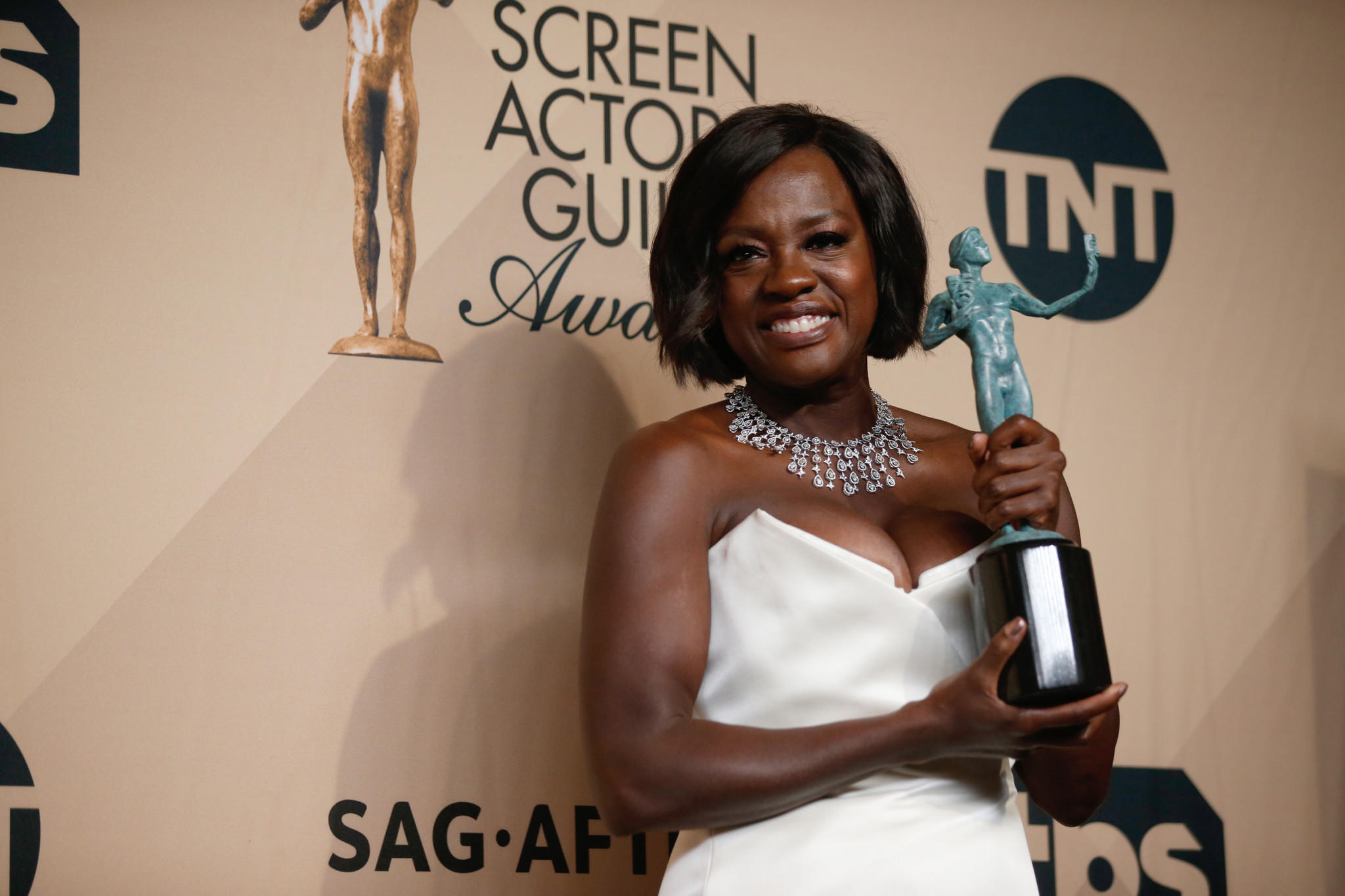 "Viola Davis, winner for female actor in a supporting role for ""Fences."" (Jordan Strauss / Invision / Associated Press)"