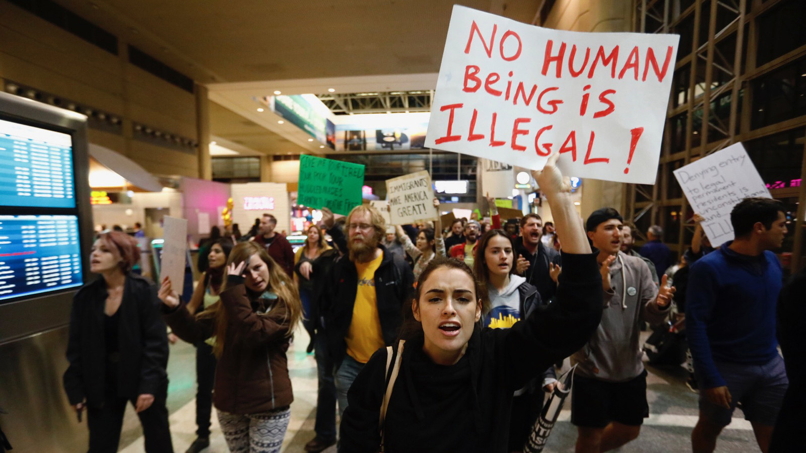 A protest at Los Angeles International Airport over Trump's immigration order. (Patrick T. Fallon/For the Times)