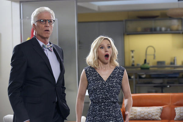 "Ted Danson and Kristen Bell star in ""The Good Place."" (Vivian Zink / NBC)"