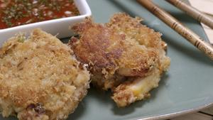 Wild Ginger's Dungeness crab cakes with lime dipping sauce