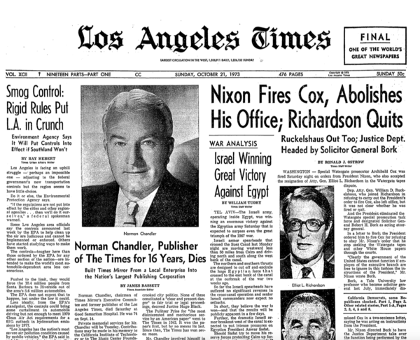 "The front page of the Los Angeles Times the morning after the ""Saturday Night Massacre."" (Los Angeles Times archives)"