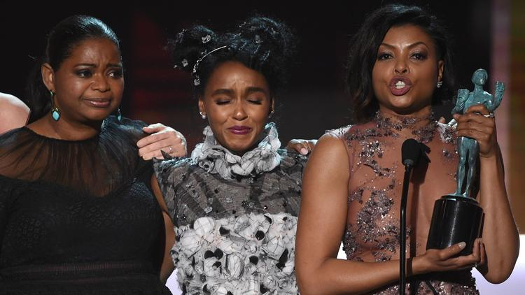 Octavia Spencer, left, Janelle Monáe and Taraji P. Henson will present at the 48th NAACP Image Awards. (Robyn Beck / AFP / Getty Images)