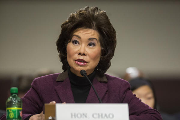 Elaine Chao testifies on Capitol Hill in Washington at her confirmation hearing before the Senate Commerce, Science, and Transportation Committee on Jan. 11, 2017. (Zach Gibson / AP)