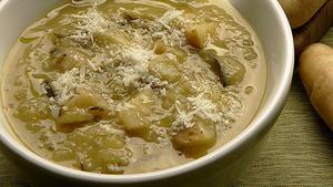 Potato and green garlic chowder