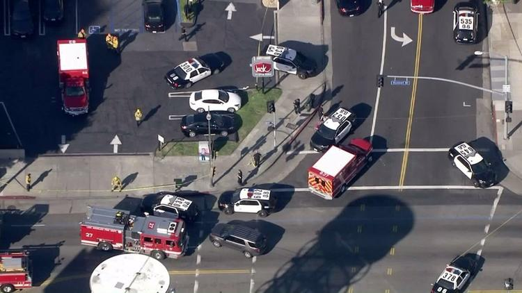 Multiple stabbings and a police shooting were reported in Hollywood on Tuesday afternoon.