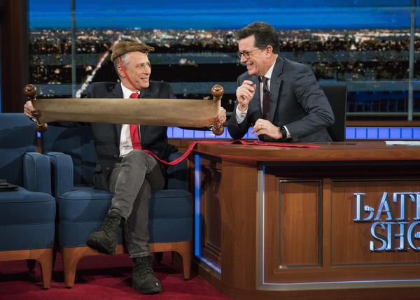 """Jon Stewart returned to """"The Late Show With Stephen Colbert"""" on Tuesday night. (Michele Crowe / CBS)"""