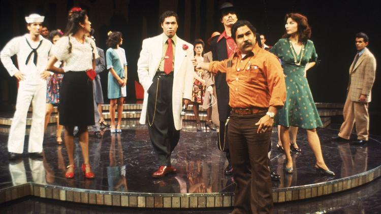 "Luis Valdez, front, with the cast of the 1978 production of ""Zoot Suit"" at the Mark Taper Forum."
