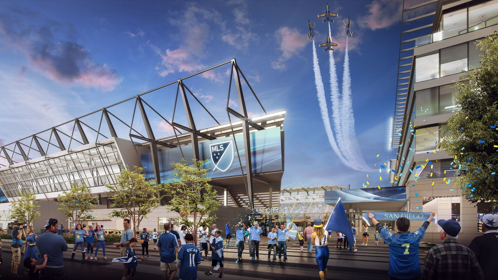 Gensler Sports produced this artist's rendering of what a 30,000-seat Major League Soccer stadium might look like at the Qualcomm Stadium property.