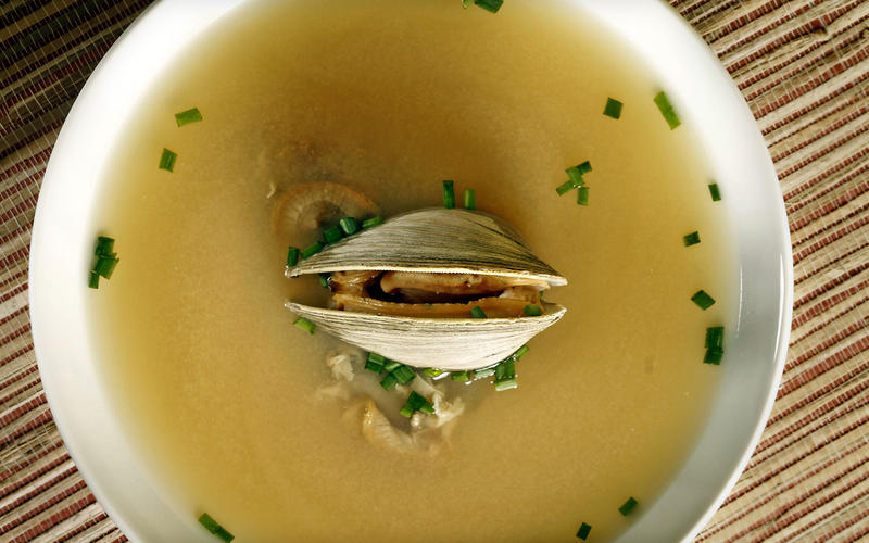 Miso soup with clams and chives