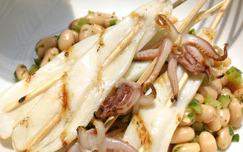 Grilled squid with white bean salad