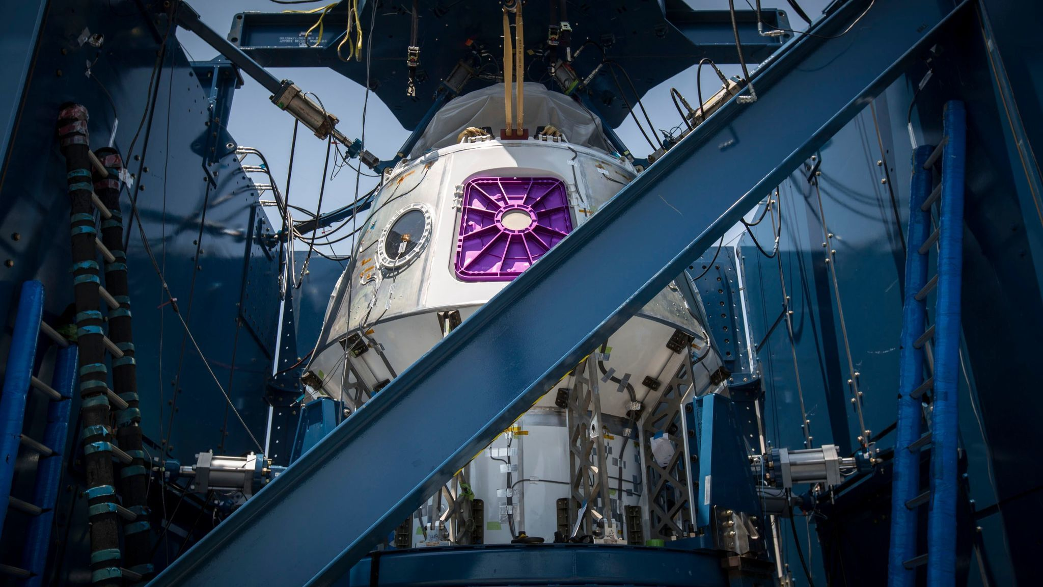 This image obtained from NASA shows the SpaceX crew Dragon Weldment pressure vessel structure on June 29, 2016, in Hawthorne.
