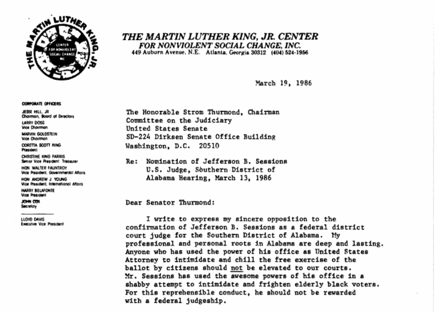 read the letter coretta scott king wrote opposing sessions' 1986