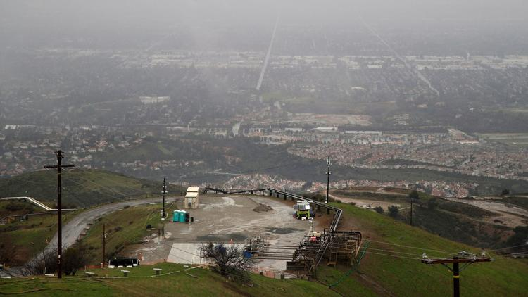 A tarp covers the well where the 2015 gas leak occurred at the Aliso Canyon storage facility. (Jae C. Hong / Associated Press)