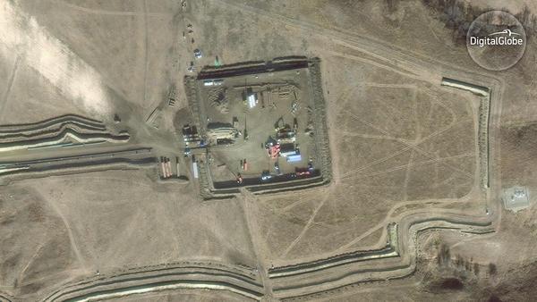 A satellite image of the Dakota Access pipeline site. (DigitalGlobe)
