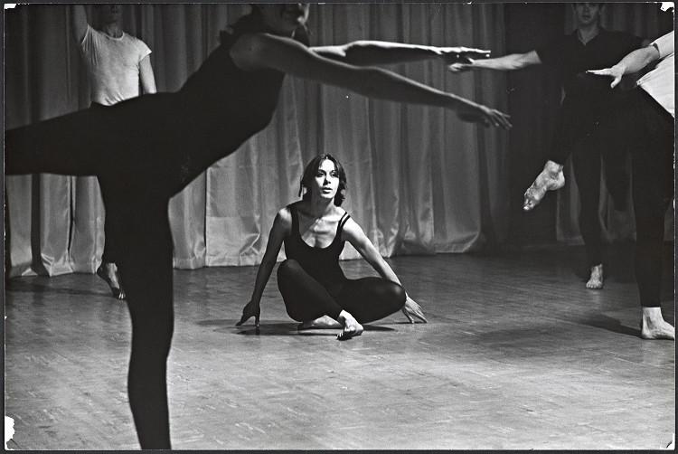 "Dancer Yvonne Rainer in ""Terrain."""