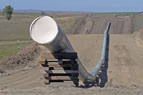 A short section of the Dakota Access pipeline in September 2016. (Tom Stromme / Associated Press)