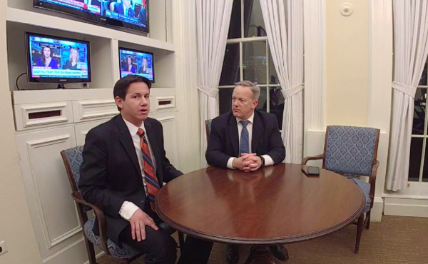White House Press Secretary Sean Spicer, right, in an interview on Facebook Live. (Facebook)