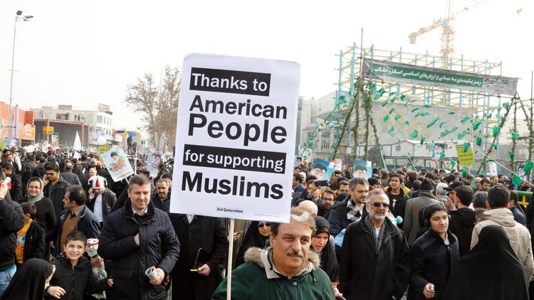 Some Iranians carried messages of friendship with the U.S. people.