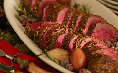 Pistachio-crusted beef tenderloin