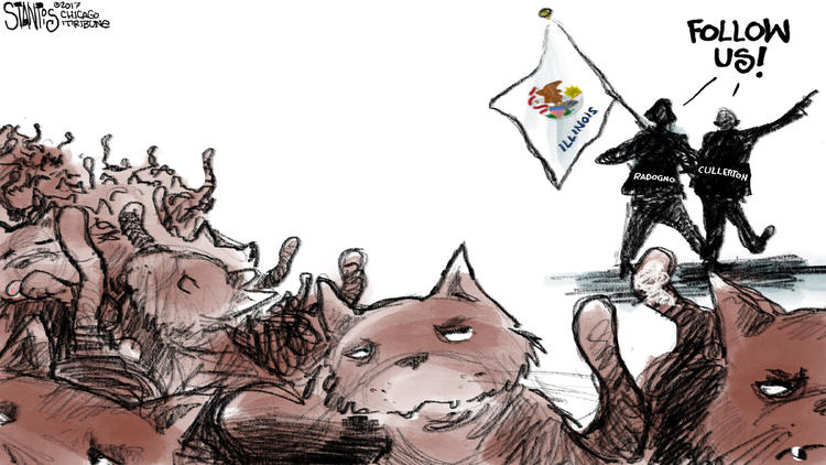 Marching towards an Illinois budget Grand Compromise – Scott Stantis Cartoon