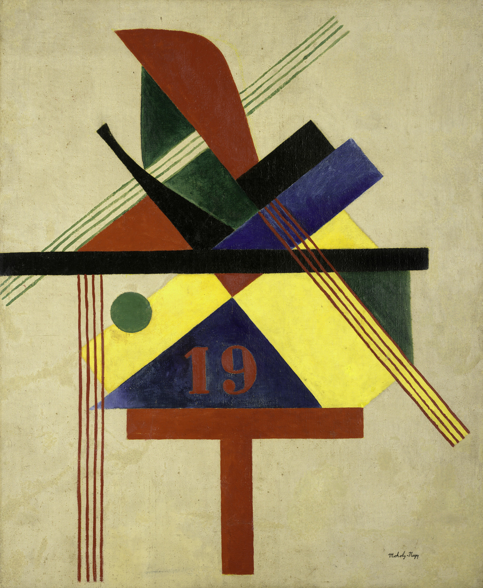 "Laszlo Moholy-Nagy, ""19,"" 1921, oil on canvas"