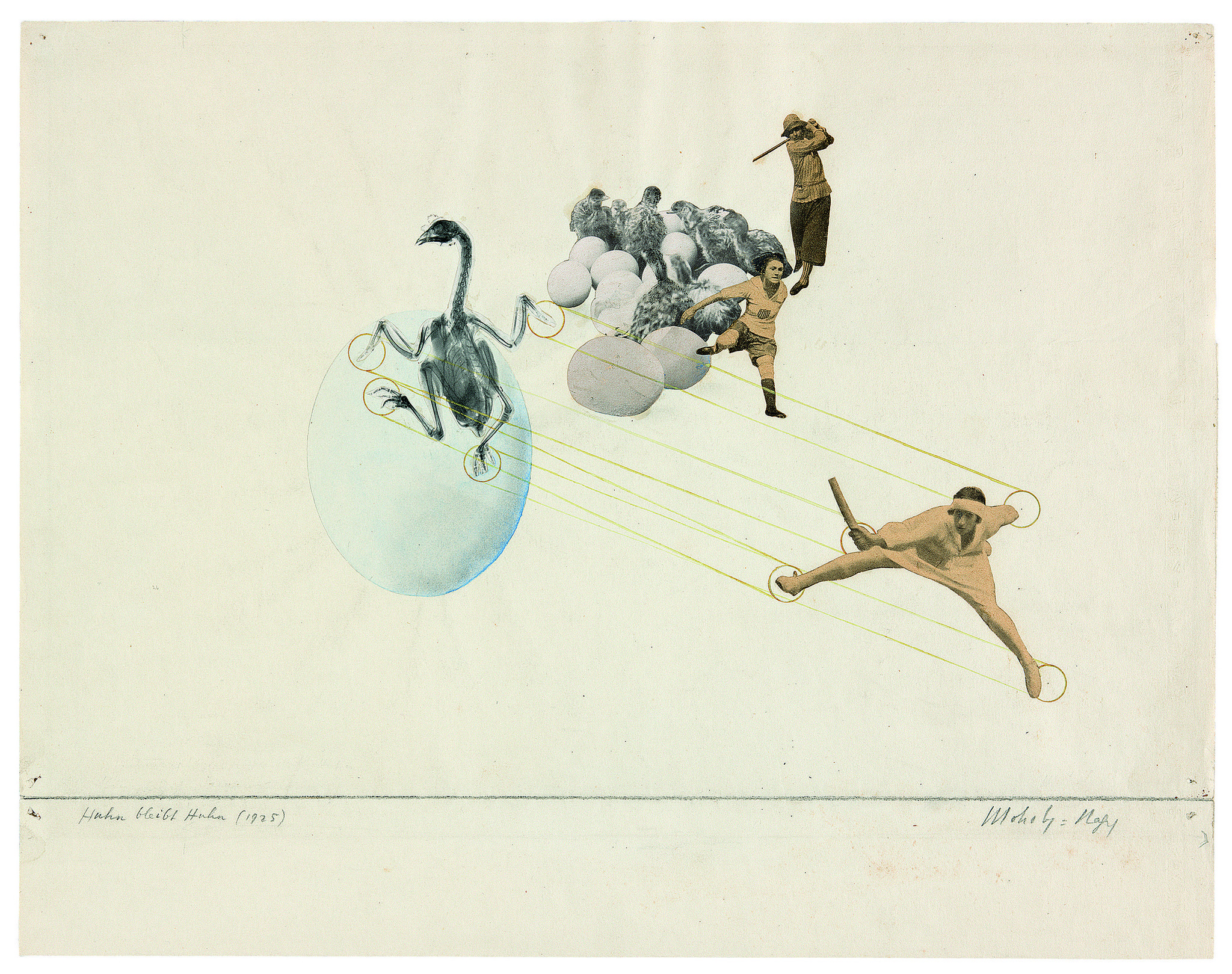 """Once a Chicken, Always a Chicken,"" 1925, a photo montage by Laszlo Moholy-Nagy at LACMA."