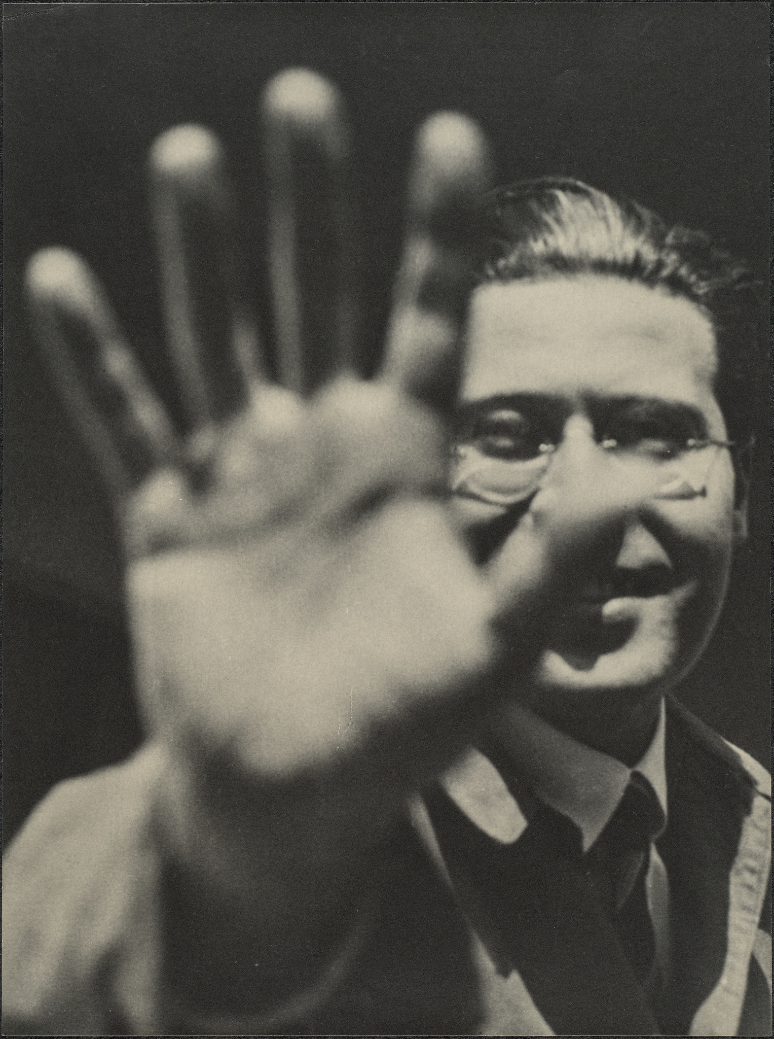 "Laszlo Moholy-Nagy, ""Photograph (Self-Portrait With Hand),"" 1925/'29, gelatin silver print"