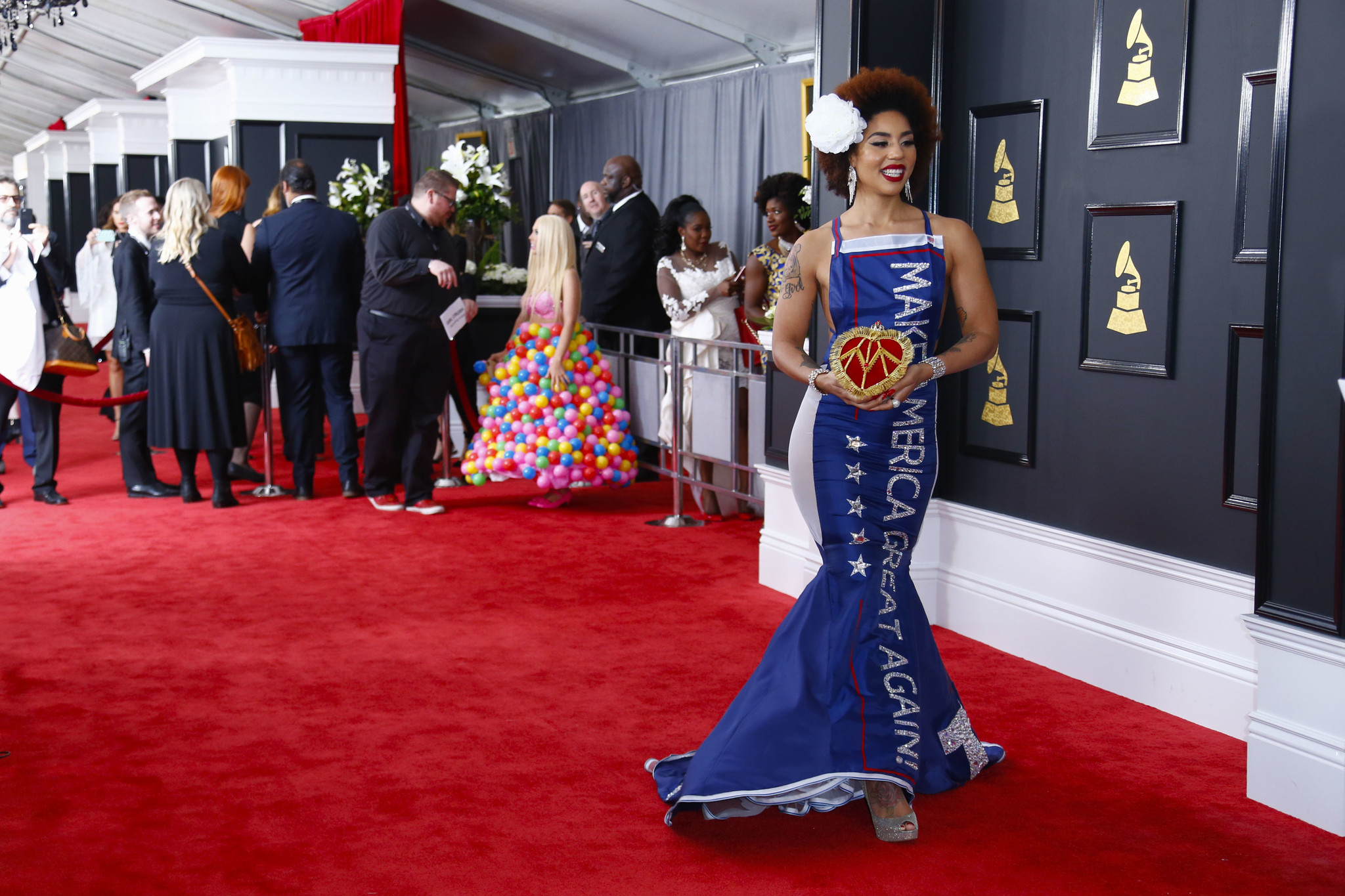 "Recording artist Joy Villa wears a ""Make America Great Again"" TRUMP dress during the arrivals at the 59th Annual GRAMMY Awards (Marcus Yam / Los Angeles Times)"