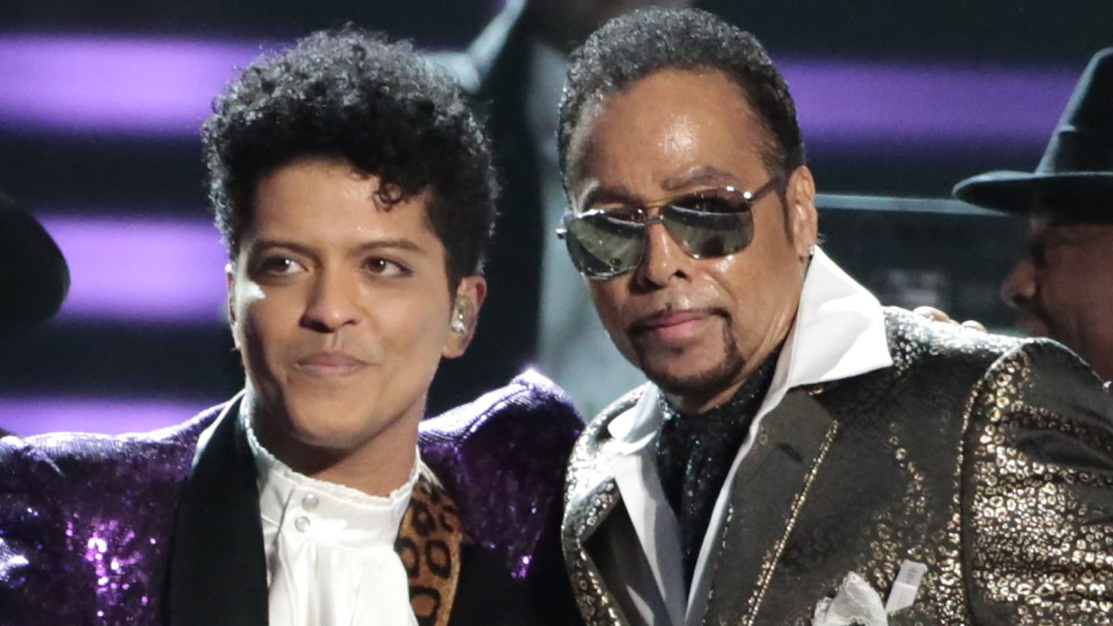 Bruno Mars, left, and Morris Day after the Grammy Awards' tribute to Prince. (Robert Gauthier / Los Angeles Times)