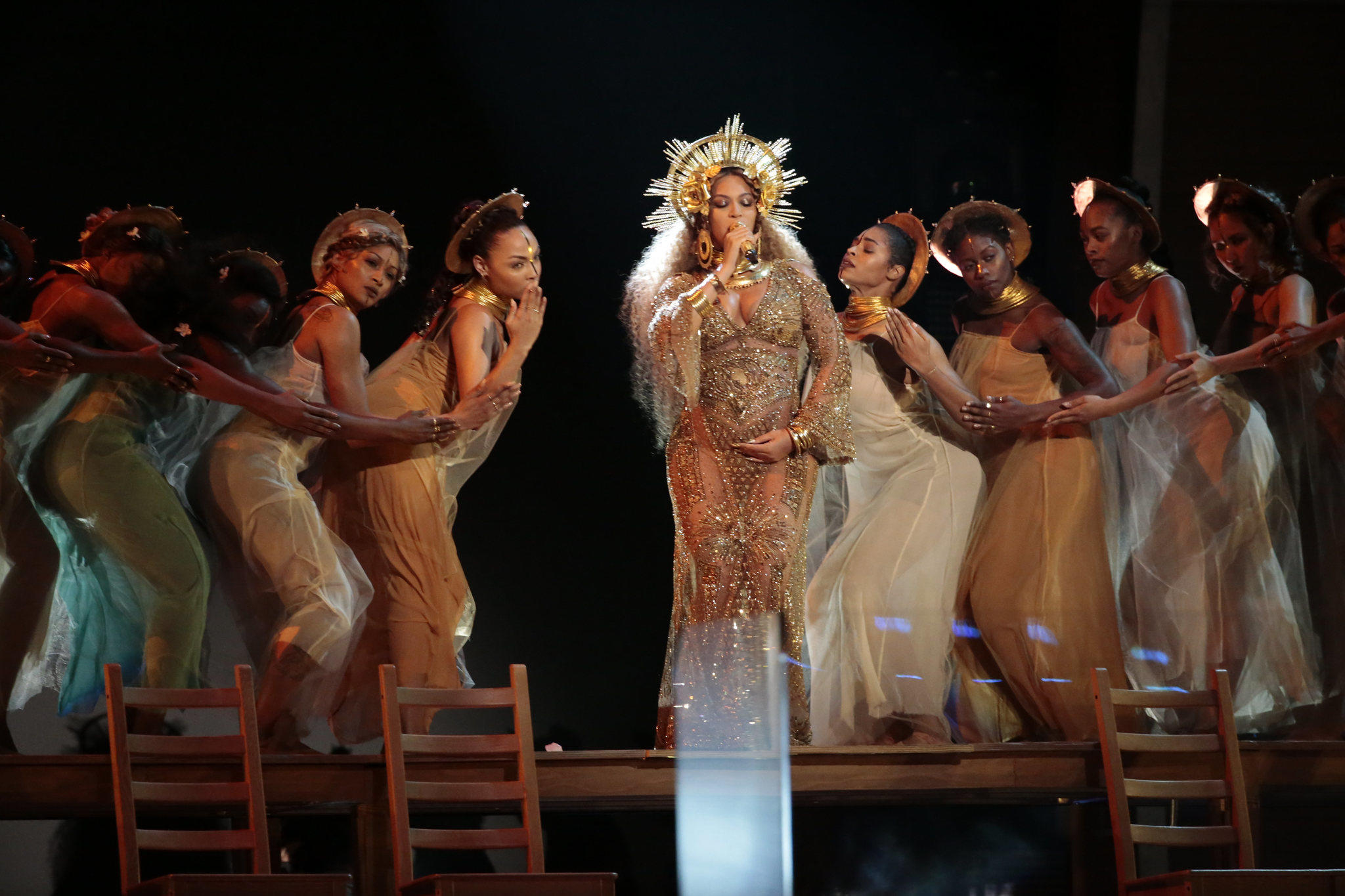 Beyoncé performs at the 59th Grammy Awards. (Robert Gauthier / Los Angeles Times)