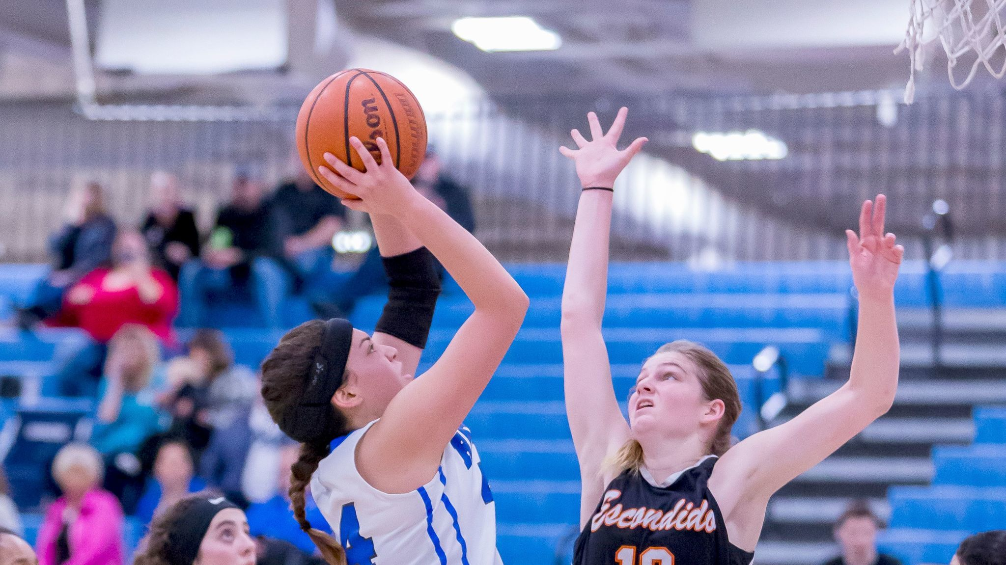 Bulldog senior Ashlyn Everett goes for the basket during Ramona's 47-33 home win over Escondido on Feb. 7.