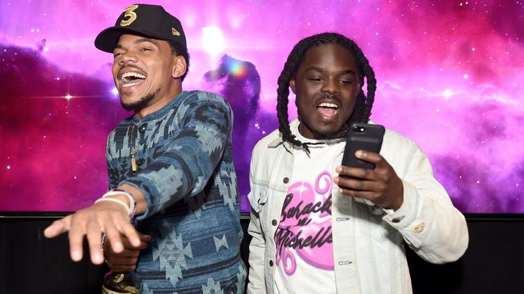 Chance the Rapper and DJ Oreo celebrate at the Chateau Marmont on Feb. 12, 2017. (Emma McIntyre / Getty Images for GQ)