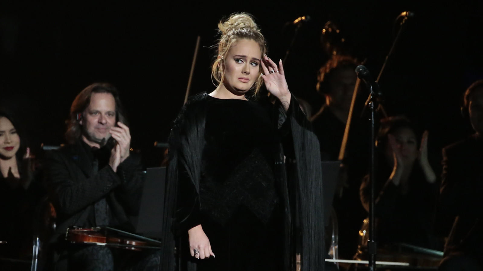 A distraught Adele is shown. (Robert Gauthier / Los Angeles Times)