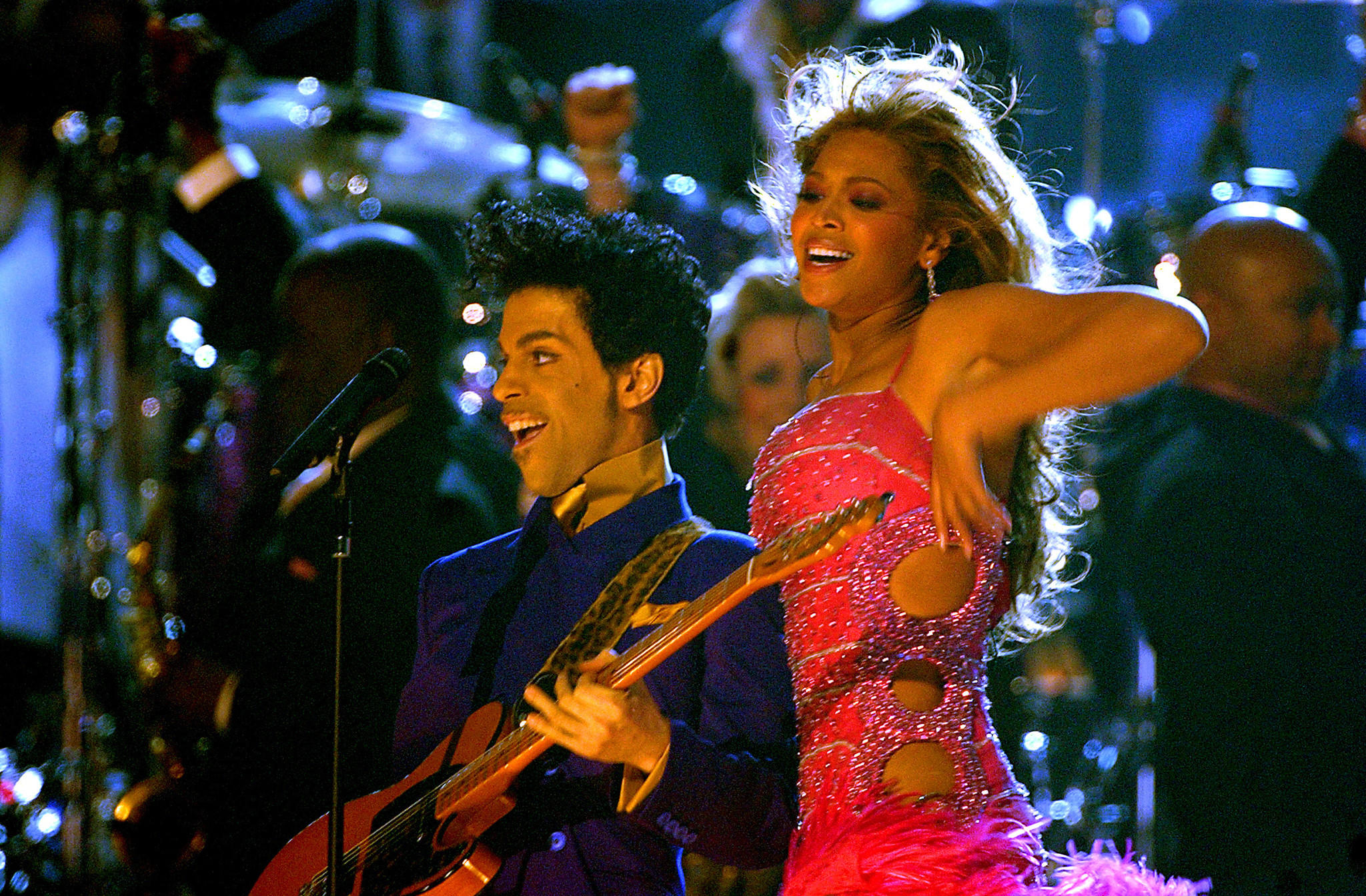 Prince and Beyoncé Knowles perform during the 46th Grammy Awards show. (Robert Gauthier / Los Angeles Times)