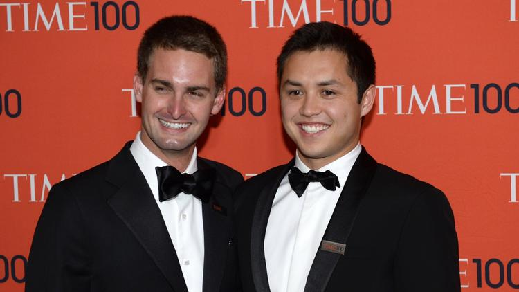 Snapchat cofounders Evan Spiegel, left, and Bobby Murphy. (Timothy A. Clary / AFP/Getty Images)
