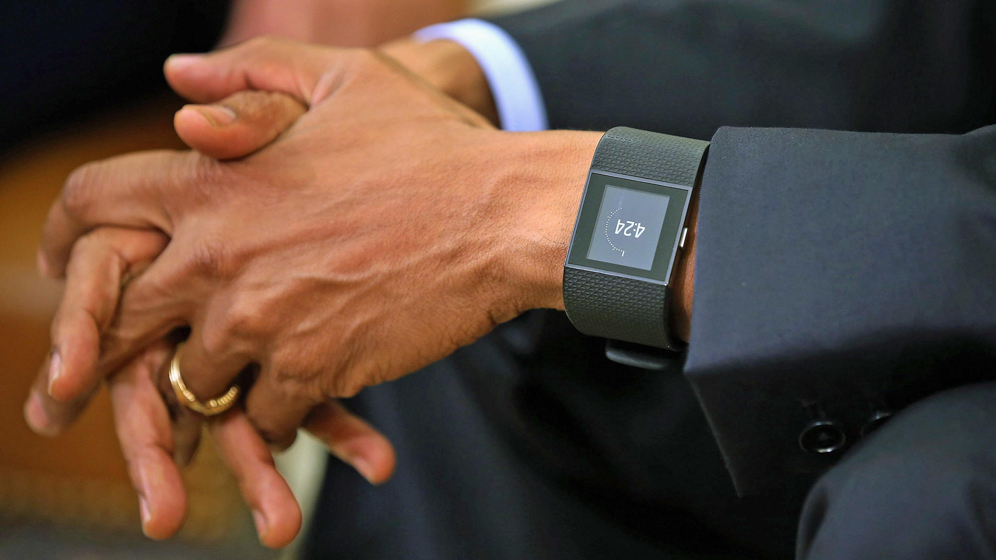 The 44th president wore a Fitbit. (Chip Somodevilla / Getty Images)