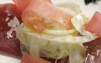 Tuna carpaccio with shaved fennel and watermelon