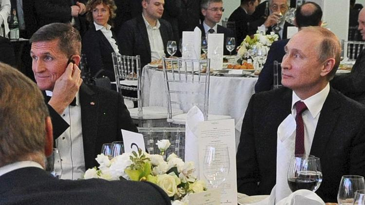 Michael Flynn and Vladimir Putin at dinner honoring Russia