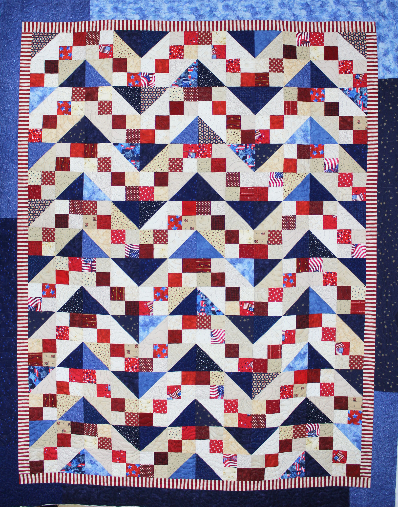 An example of a patriotic quilt sewn by the Poway Quilts of Valor group.