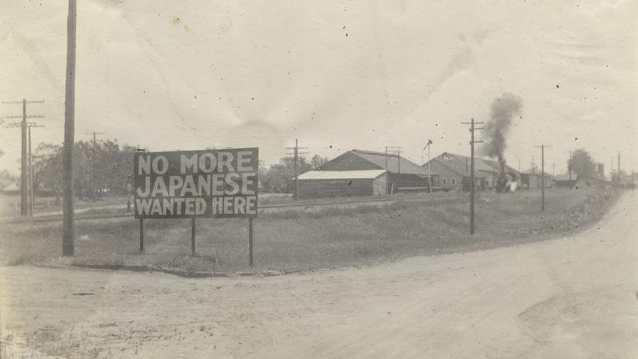 """No More Japanese Wanted Here,"" a sign in Livingston, Calif., circa 1920, part of a historical exhibition at the Japanese American National Museum."