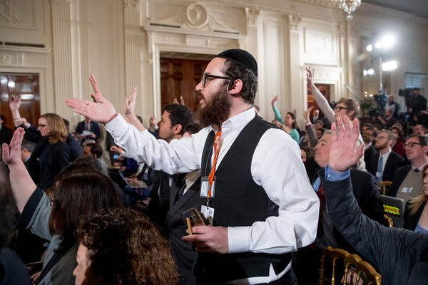 "Ami Magazine reporter Jake Turx, shown, was told to ""sit down"" after he tried to ask President Trump about a documented rise in anti-Semitic episodes in the United States. (Andrew Harnik / Associated Press)"