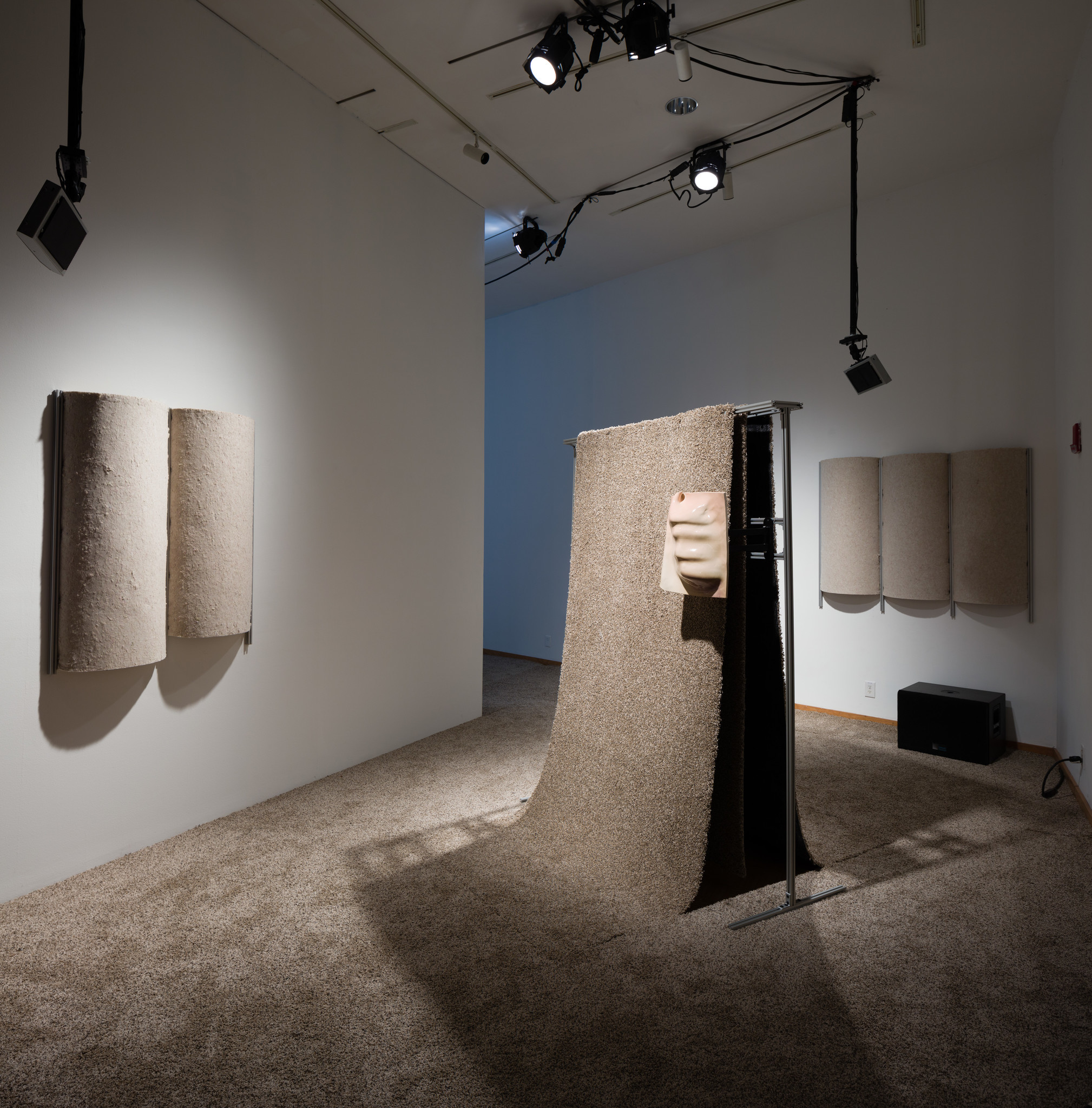 "Jacqueline Gordon's ""Linda II & Tammy IV,"" 2016. Ceramic, ultrasonic directional speakers, carpet, extruded aluminum."