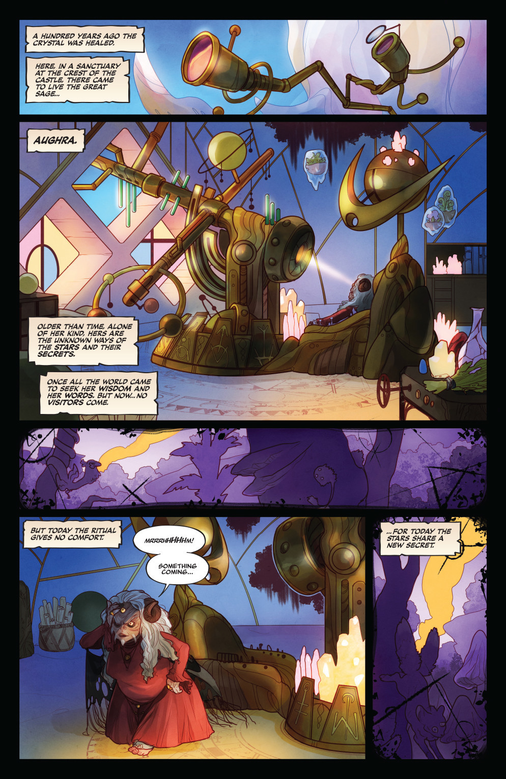 "A page from ""The Power of the Dark Crystal"" No. 1 by Simon Spurrier and Kelly and Nichole Matthews."