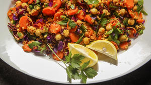 Carrot Salad with lemon turmeric vinaigrette