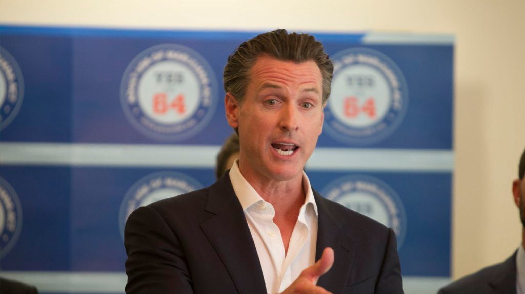 California Lt. Gov Gavin Newsom at press conference supporting Proposition 64, the Adult Marijuana Act, at Liberty Station in San Diego on Thursday, October 13.