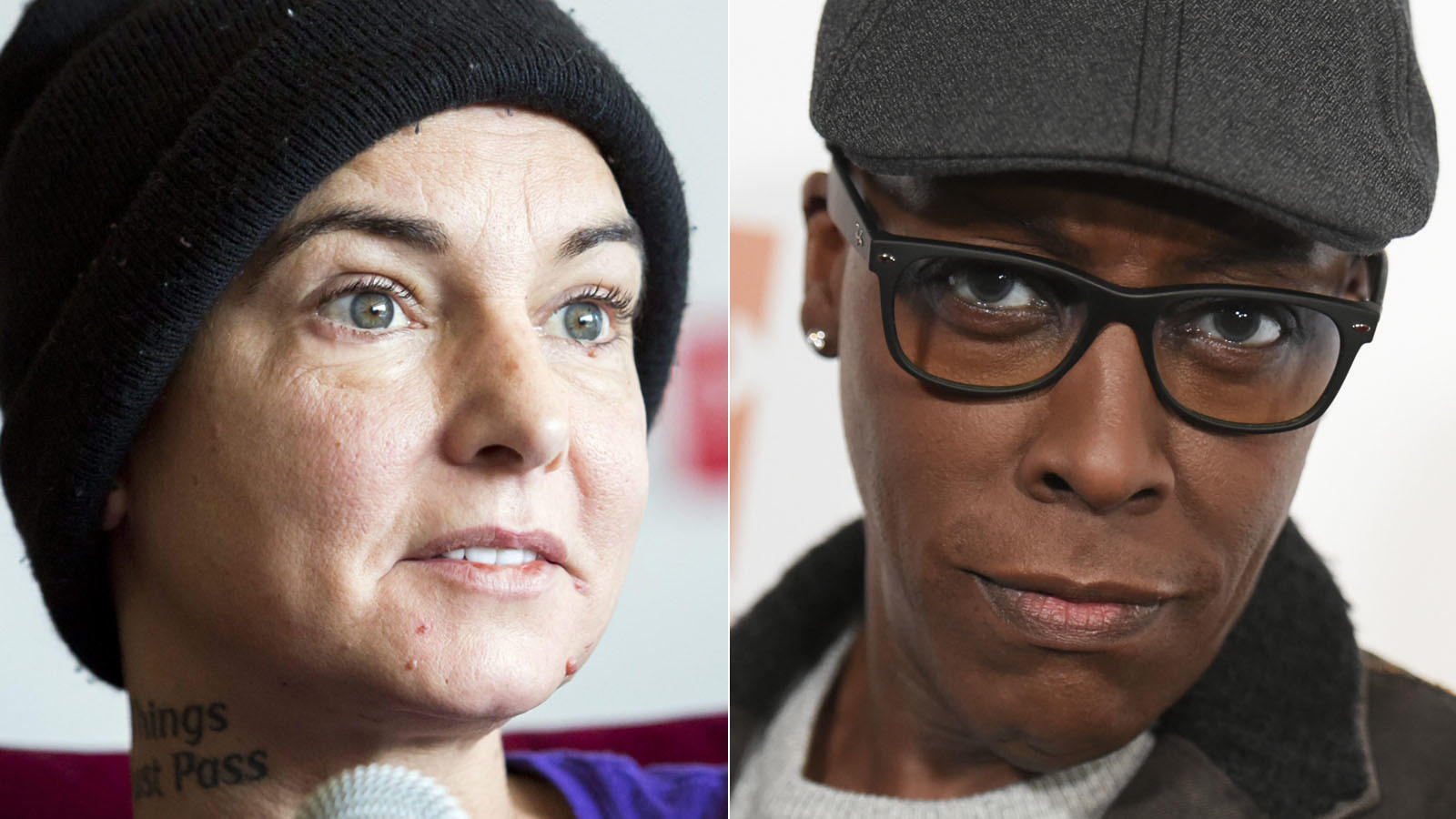 Sinéad O'Connor and Arsenio Hall (Balazs Mohai / European Pressphoto Agency, left; Richard Shotwell / Associated Press)