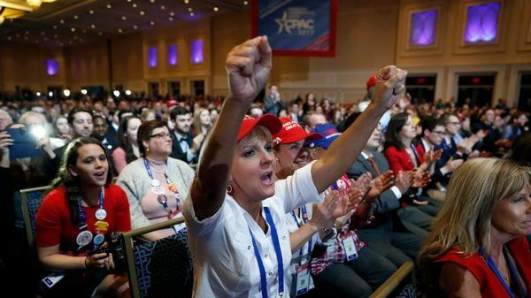 Supporters cheer President Donald Trump as he speaks at the Conservative Political Action Conference (CPAC), Friday, Feb. 24, 2017, in Oxon Hill, Md.